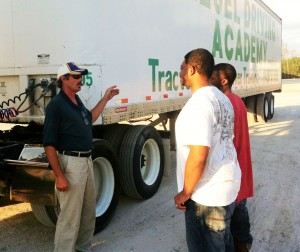 Greg Ellis DDA instructor talking with CDL students
