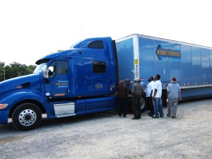 DDA students check out Werner truck