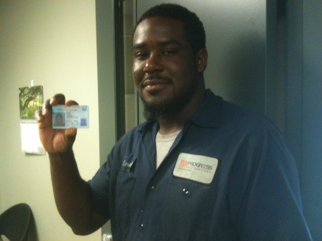 DDA student Korrell Lindsey with license