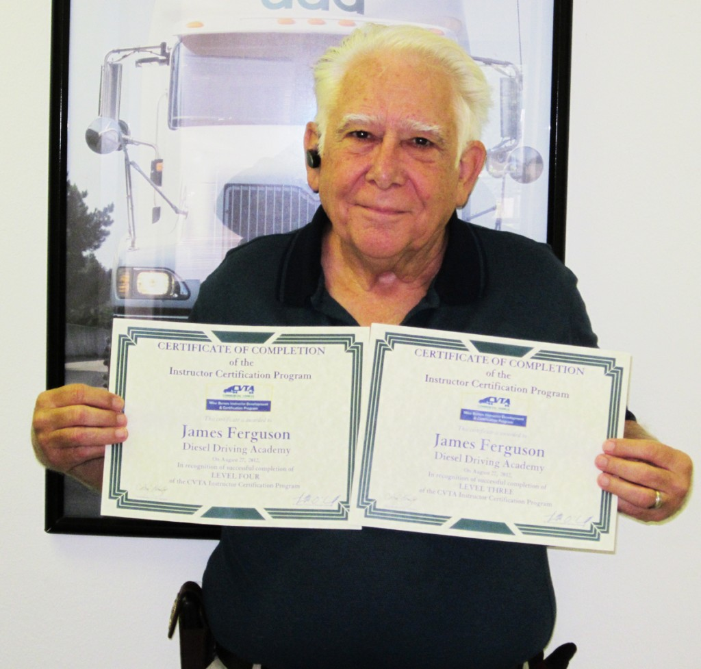 DDA graduate James Ferguson with his Level 3 and Level 4 CDL training certificates