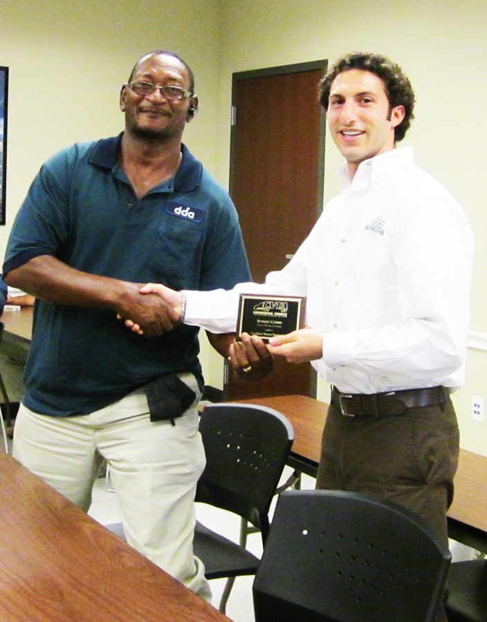 Robert Combs received CVTA certified instructor plaque with Kalil Busada