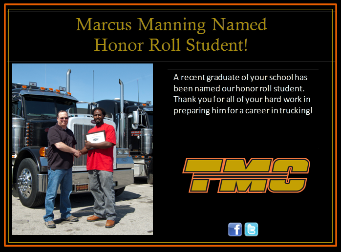 DDA graduate Marcus Manning makes honor roll at TMC Transport