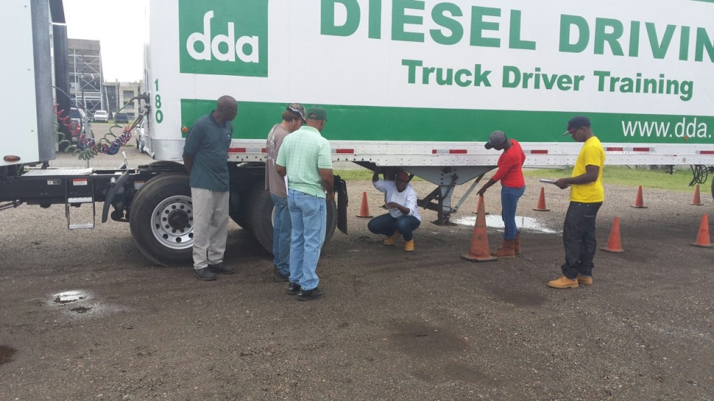 CDL students going over Pre-Trip Inspections