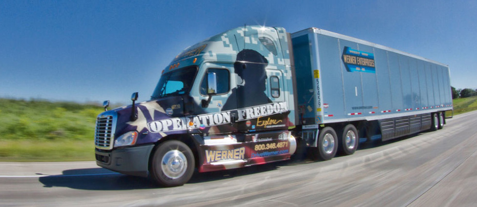 werner enterprises operation freedom truck on display at dda baton rouge april 29 and dda shreveport