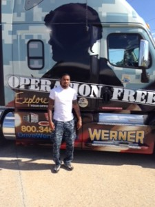 Werner Enterprises Operation Freedom truck at Diesel Driving Academy in Baton Rouge Louisiana