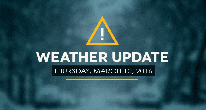 Weather update for March 10, 2016