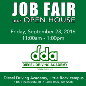 Job Fair at DDA in Little Rock on Setp 23, 2016. Open to all.