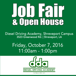 Job Fair at DDA in Shreveport on Oct 7, 2016. Open to all.