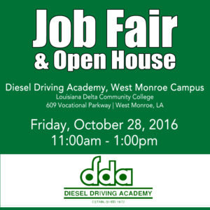 Job Fair at DDA in West Monroe on Oct 28, 2016. Open to all.