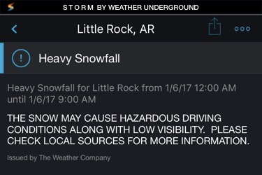 January 6 weather alert for Little Rock, AR