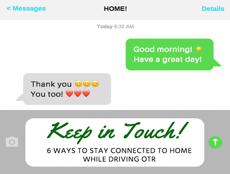 """image of a text message screen. Green text message bubble reads """"Good morning, have a great day!"""" with a grey message reply that reads """"Thank you, you too!"""""""