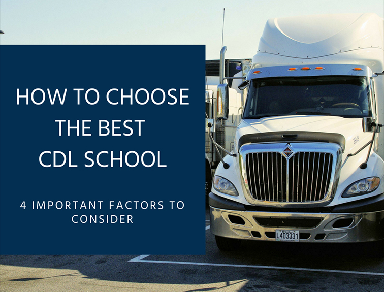"image of the front of a semi truck with the blog title ""how to choose the best cdl school"" against a blue background"