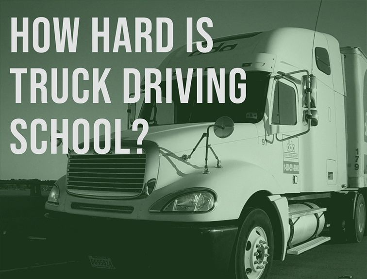 """image of a semi truck with the words """"how hard is truck driving school?"""""""